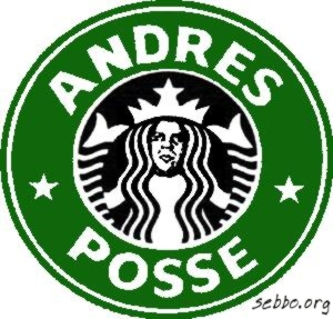 The Starbucks logo, modified with an image of Andre the Giant